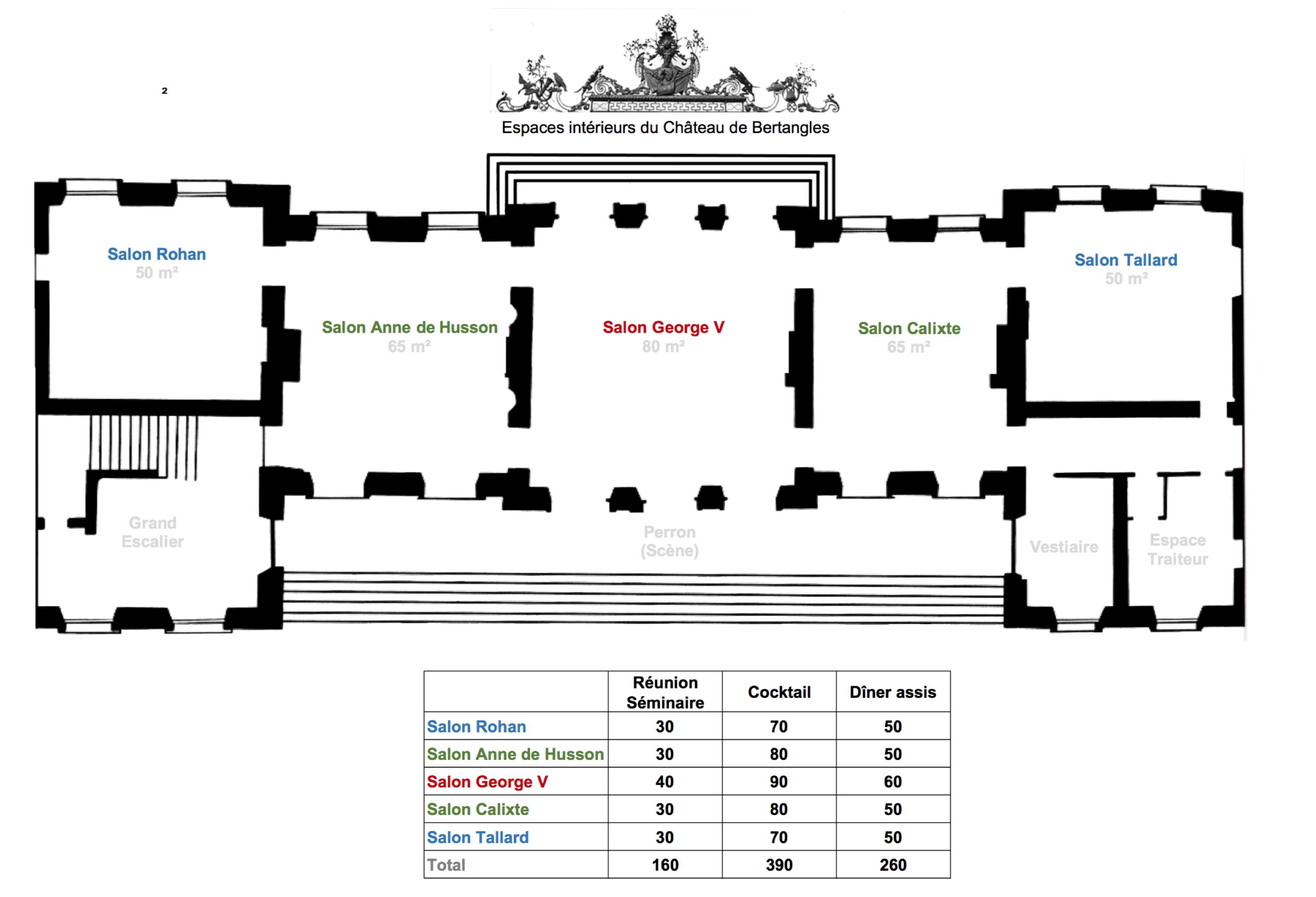 Plans intérieurs des salons de réception